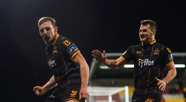 David McMillan, left, of Dundalk celebrates with team-mate Thomas Stewart after scoring his side's third goal during the Irish Daily Mail FAI Cup Semi-Final Replay match between Shamrock Rovers and Dundalk at Tallaght Stadium in Tallaght, Dublin. Photo by Seb Daly/Sportsfile