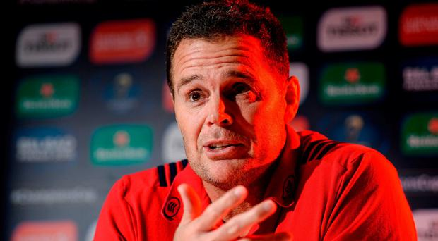Munster director of rugby Rassie Erasmus during a Munster rugby press conference at University of Limerick. Photo: Diarmuid Greene/Sportsfile