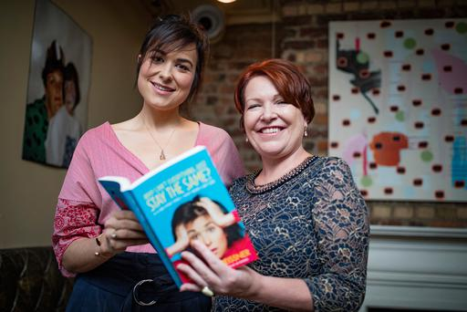 Noirin O'Sulivan with author Stefanie Preissner at the launch her first book, 'Why Can't Everything Just Stay the Same?' at Nando's in Dublin. Photo: Arthur Carron
