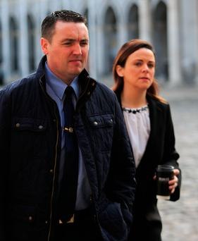 Garda Keith Harrison and his partner Marisa Simms at the Disclosures Tribunal yesterday. Photo: Gareth Chaney