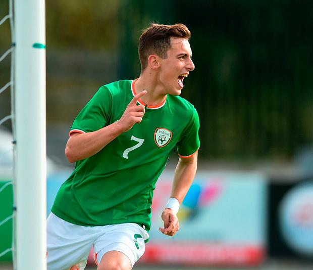 Lee O'Connor of Republic of Ireland celebrates after scoring against Serbia during the UEFA European U19 Championship Qualifier match between Republic of Ireland and Serbia at RSC in Waterford. Photo: Sportsfile