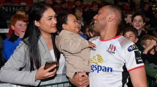 Christian Lealiifano with son Jeremih and partner Luga following the Guinness PRO14 Round 6 match between Ulster and Connacht on Friday. CREDIT: GETTY IMAGES