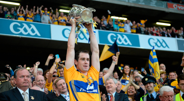 28 September 2013; Clare captain Patrick Donnellan lifts the Liam MacCarthy Cup. GAA Hurling All-Ireland Senior Championship Final Replay, Cork v Clare, Croke Park, Dublin. Picture credit: Ray McManus / SPORTSFILE