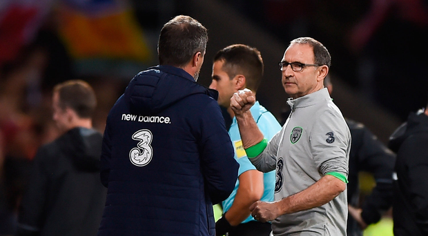 9 October 2017; Republic of Ireland manager Martin O'Neill, right, reacts to the final whistle following his side's victory during the FIFA World Cup Qualifier Group D match between Wales and Republic of Ireland at Cardiff City Stadium in Cardiff, Wales. Photo by Seb Daly/Sportsfile