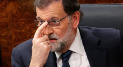 Spain's Prime Minister Mariano Rajoy attends a session of Parliament in Madrid, Spain, October 11, 2017. REUTERS/Sergio Perez
