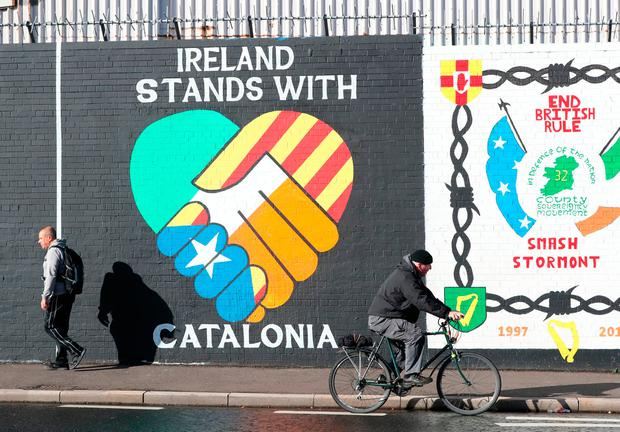 A new pro Catalan independence mural on Belfast's Falls road. Niall Carson /PA Wire