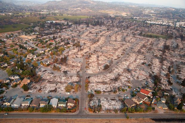 An aerial view of properties destroyed by the Tubbs Fire is seen in Santa Rosa, California, U.S., October 11, 2017. REUTERS/Stephen Lam