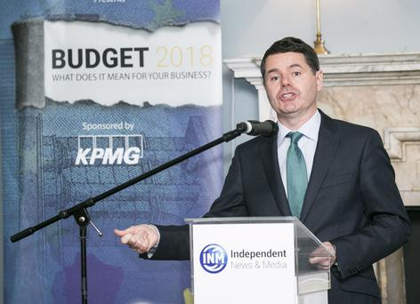 Minister for Finance Pascal Donohoe TD at Budget 2018 presented by INM and sponsored by KPMG in the Stephens Green Hibernian Club.