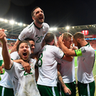 9 October 2017; James McClean, second from right, of Republic of Ireland celebrates with team-mates after scoring his side's first goal during the FIFA World Cup Qualifier Group D match between Wales and Republic of Ireland at Cardiff City Stadium in Cardiff, Wales. Photo by Stephen McCarthy/Sportsfile