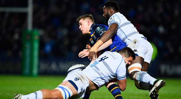 13 January 2017; Garry Ringrose of Leinster is tackled by Paul Willemse, left, and Fulgence Ouedraogo of Montpellier during the European Rugby Champions Cup Pool 4 Round 5 match between Leinster and Montpellier at the RDS Arena in Dublin. Photo by Ramsey Cardy/Sportsfile