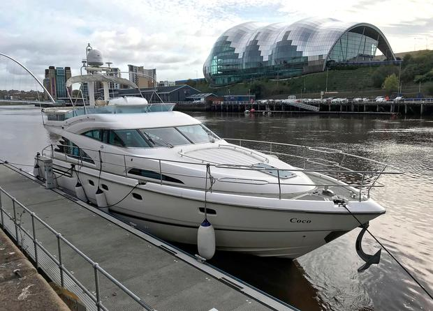 The yacht Coco on Newcastle Quayside, the boat was set adrift by David Taylor after he caught his girlfriend on board Photo: Tom White/PA Wire