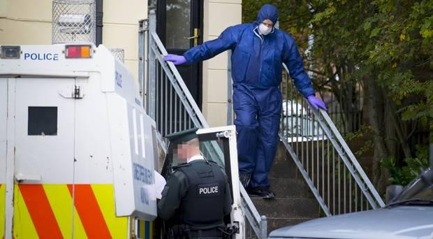 Forensics at the home of 68-year-old Marie Conlon in the Larkspur Rise area after they discovered her body, October 12th 2017 (Photo by Kevin Scott / Belfast Telegraph)