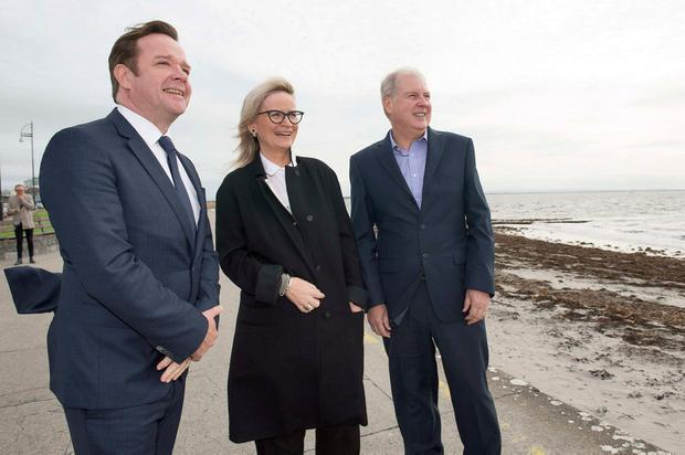 TV3's chief Pat Kiely, Dee Forbes and TG4's Alan Esslemont take a walk on Salthill prom during the FÍS TV Summit in Galway. Photo: Andrew Downes, xposure