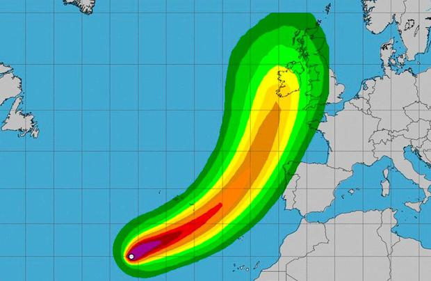 The projected path of Hurricane Ophelia