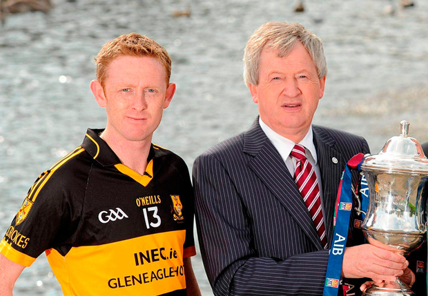 Colm Cooper's decision to hold a testimonial dinner may cause the GAA to examine its rules according to Ard Stiurthoir Paraic Duffy. The pair are seen here together in Killarney to launch the 2011 club championship. Photo: Sportsfile