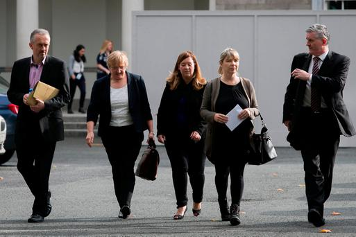 (L to R)Thomas Ryan, Helen Grogan, Niamh Byrne, Hazel Melbourne & Padraig Kissane following a Finance, Public Expenditure and Reform, and Taoiseach committee meeting on matters relating to the Banking Sector at Leinster House, Dublin. Photo: Gareth Chaney Collins