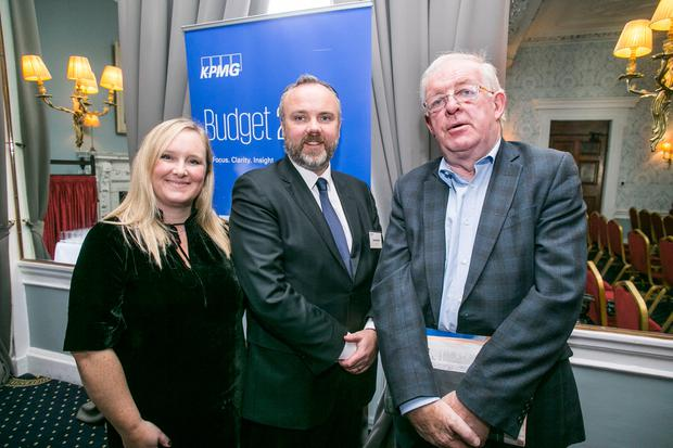 Samantha McCaughren, Cormac Bourke and Colm McCarthy at Budget 2018 presented by INM and sponsored by KPMG in the Stephen's Green Hibernian Club. Photo: Kyran O'Brien