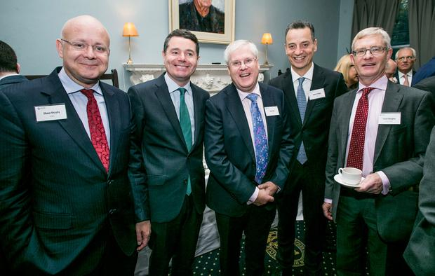 Shaun Murphy,KPMG,Minister for Finance Paschal Donohoe TD,Ray Gray DAA, Dalton Philips,DAA and David Meagher, partner KPMG at the Budget 2018 presented by INM and sponsored by KPMG in the Stephen's Green Hibernian Club. Photo: Kyran O'Brien