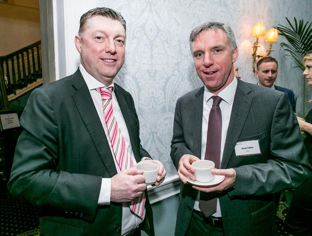 Conor O'Brien KPMG and Kevin Cohen, KPMG at the Budget 2018 presented by INM and sponsored by KPMG in the Stephen's Green Hibernian Club. Photo: Kyran O'Brien