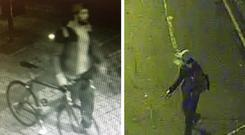 CCTV images of two suspects sought by police over the assaults in Tower Hamlets CREDIT: METROPOLITAN POLICE