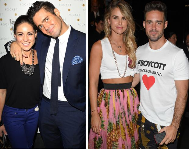 Louise Thompson and Spencer Matthews, left, Vogue Williams and Spencer Matthews, right
