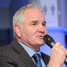 5 December 2011; Speaking during a questions and answers session at the Powerade Leinster Schools Cup Draw 2012 was TV pundit Brent Pope. Aviva Stadium, Lansdowne Road, Dublin. Picture credit: Barry Cregg / SPORTSFILE