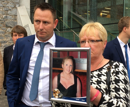 Grieving husband Bernard Fitzpatrick and Tracey's mother Pauline Campbell outside Kilkenny Coroner's Court