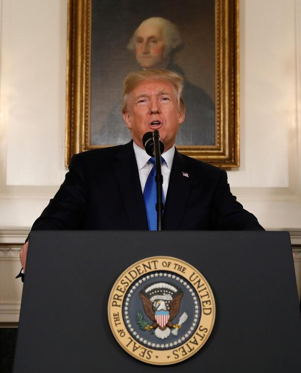 U.S. President Donald Trump speaks about the Iran nuclear deal in the Diplomatic Room of the White House in Washington, U.S., October 13, 2017. REUTERS/Kevin Lamarque