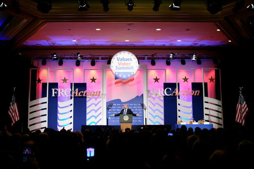 U.S. President Donald Trump addresses the Values Voter Summit of the Family Research Council in Washington, DC, U.S. October 13, 2017. REUTERS/James Lawler Duggan