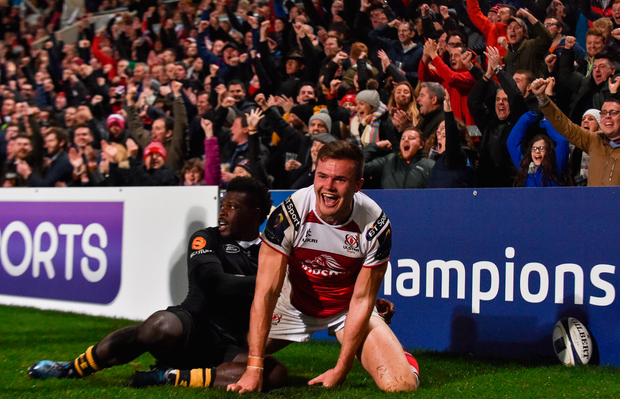 13 October 2017; Jacob Stockdale of Ulster celebrates after scoring his side's first try during the European Rugby Champions Cup Pool 1 Round 1 match between Ulster and Wasps at Kingspan Stadium in Belfast. Photo by David Fitzgerald/Sportsfile