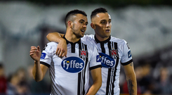 Michael Duffy, left, scored the late winner for Dundalk.