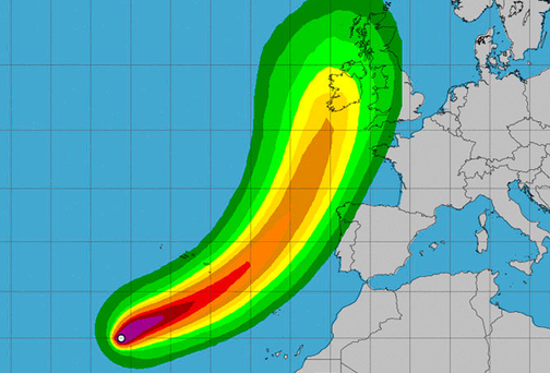 Hurricane Ophelia has continued to strengthen