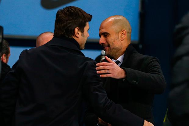 Pep Guardiola and Mauricio Pochettino look to be on a collision course before their teams meet in December. Photo: Getty