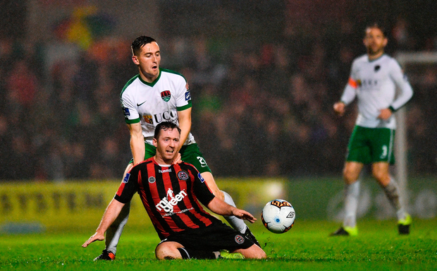 Paddy Kavanagh of Bohemians in action against Conor McCarthy of Cork City. Photo: Sportsfile
