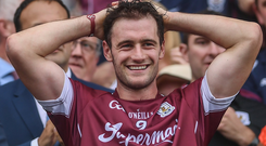 Galway's David Burke waits to lift the Liam MacCarthy Cup. Photo: Sportsfile