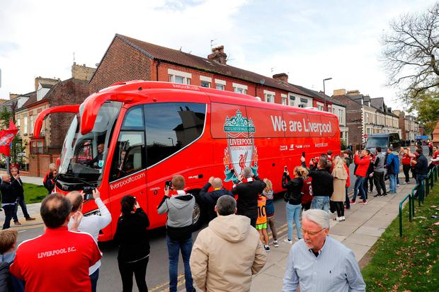 The Liverpool team bus outside the stadium before the match