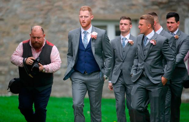 England all-rounder Ben Stokes (centre) arrives for his marriage to fiancee Clare Ratcliffe, at St Mary the Virgin, East Brent, Somerset