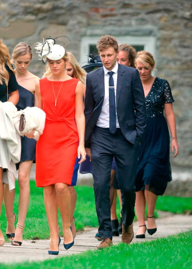 England cricket Test team captain Joe Root arrives at St Mary the Virgin, East Brent, Somerset, for the wedding of Ben Stokes and his fiancee Clare Ratcliffe