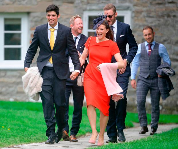 England cricket player Alastair Cook (front left) with his wife Alice, and Paul Collingwood (rear, left) and Stuart Broad (rear, right) arrive at St Mary the Virgin, East Brent, Somerset, for the wedding of Ben Stokes and his fiancee Clare Ratcliffe