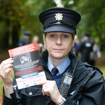 Gardaí investigating the murder of Linda Evans Christian, whose body was discovered at Coolmine Woods on Monday 17th July, 2017 make a fresh appeal at Coolmine Woods. Pictured is Sgt Louise McHugh Pic:Mark Condren