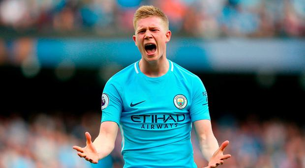 Kevin De Bruyne of Manchester City reacts during the Premier League match between Manchester City and Stoke City at Etihad Stadium