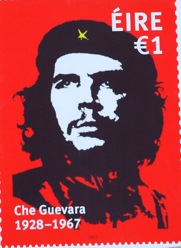 Jim Fitzpatrick's famous poster on the Che Guevara stamp.