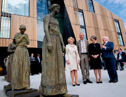 Untold stories: President Higgins and his wife Sabina at Hobart in Tasmania, where President Higgins spoke at the unveiling of the Footsteps Towards Freedom project by Irish sculptor Rowan Gillespie, seen here with Kate Warner, the governor of Tasmania. Photo: Maxwell's