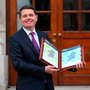 Minister for Finance Paschal Donohoe with Budget 2018 last week. Photo: INM