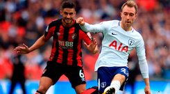 Christian Eriksen fires in the only goal of the game as Tottenham beat Bournemouth to finally end their wait for a Premier League win at Wembley. Photo: PA Wire