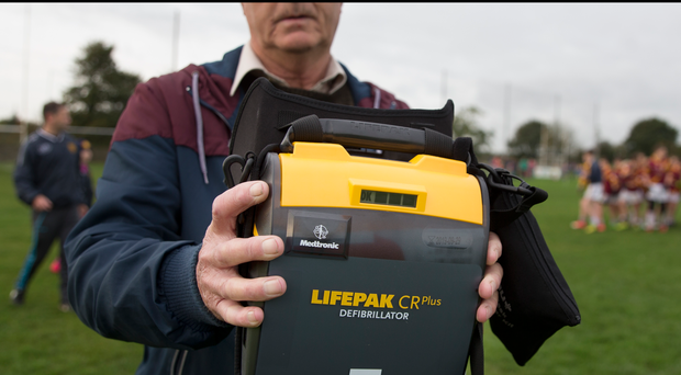 Harry Rennicks of the St Maur's GAA club in Rush with a mobile defibrilator which is brought to all club games. Photo: David Conachy