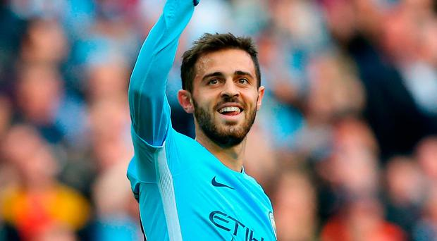 Bernardo Silva salutes the crowd after the rout. Photo: Getty Images