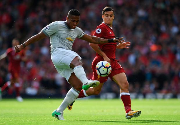 Antonio Valencia of Manchester United clears the ball. Photo: Getty Images