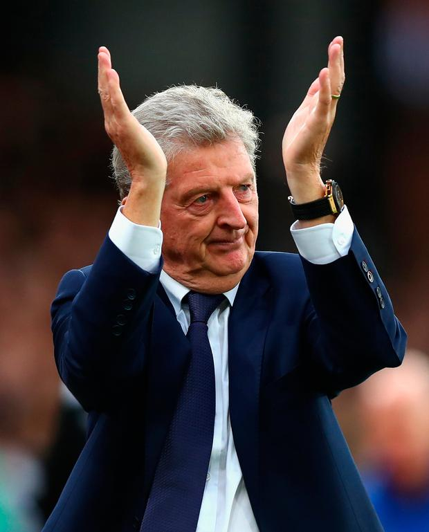 Roy Hodgson, Manager of Crystal Palace shows appreciation to the fans. Photo: Getty Images