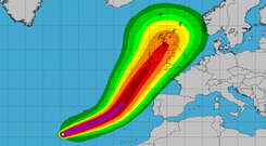 Forecast: Map showing predicted path of Ophelia